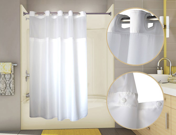 U Shaped Curtain Rod Hookless Stall Shower Curtains