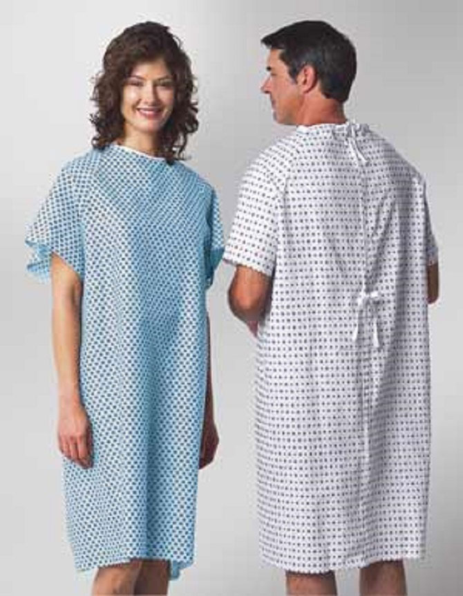 Boston Textile: Printed Patient Gown with Ties