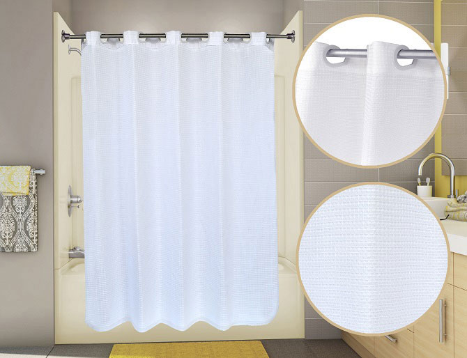Hotel Shower Curtains - Pre-Hooked Waffle View Shower Curtain by ...