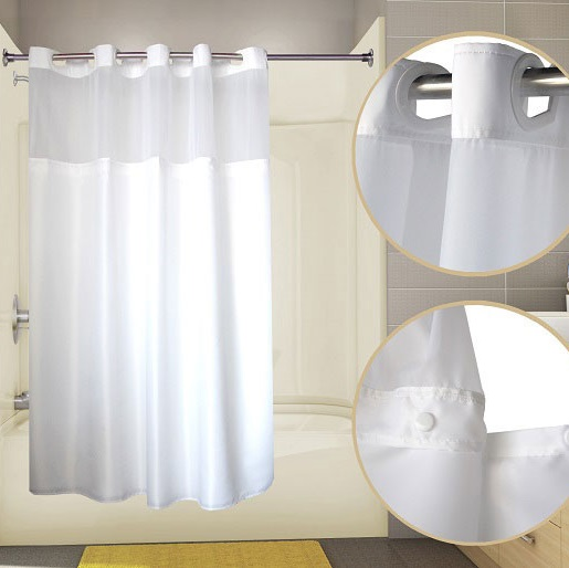 Duet Hookless Shower Curtain With Snap Liner